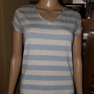 Poof! Tops - NWT, Poof! brand size M blue & grey striped shirt.